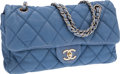 Luxury Accessories:Bags, Chanel Light Blue Lambskin Leather Single Flap Bag with SilverHardware. ...