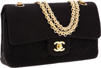 Chanel Black Quilted Jersey Double Flap Bag with Gold Hardware