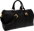 Luxury Accessories:Travel/Trunks, Chanel Black Caviar Leather Duffle Bag. ...