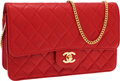 Luxury Accessories:Bags, Chanel Red Lambskin Leather Clutch Bag with Gold Chain ShoulderStrap. ...