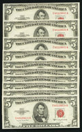 Small Size:Legal Tender Notes, Fr. 1534 $5 1953B Legal Tender Notes. Ten Examples. Choice Crisp Uncirculated.. ... (Total: 10 notes)