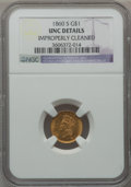 Gold Dollars, 1860-S G$1 -- Improperly Cleaned -- NGC Details. Unc....