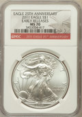 Modern Bullion Coins, 2011 $1 Silver American Eagle, 25th Anniversary Early Releases MS70NGC. NGC Census: (52896). PCGS Population (38356)....