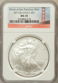 Modern Bullion Coins, 2011-(S) $1 One-Ounce Silver American Eagle Struck at San FranciscoMint MS70 NGC. NGC Census: (0). PCGS Population (17...