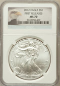 Modern Bullion Coins, 2012 $1 Silver Eagle, First Releases MS70 NGC. NGC Census: (0).PCGS Population (8859)....