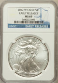Modern Bullion Coins, 2012-W $1 Silver Eagle, Early Releases MS69 NGC. NGC Census:(4858/8282). PCGS Population (2540/2642)....