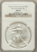 Modern Bullion Coins, 2011-(S) $1 One-Ounce Silver American Eagle Struck at San FranciscoMint MS69 NGC. PCGS Population (...