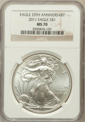 Modern Bullion Coins, 2011 $1 Silver Eagle, 25th Anniversary MS70 NGC. NGC Census:(3155). PCGS Population (372). ...