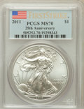 Modern Bullion Coins, 2011 $1 25th Anniversary Silver American Eagle, First Strike MS70PCGS. PCGS Population (38356). NGC Census: (52896)....