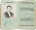 Movie/TV Memorabilia:Autographs and Signed Items, A Glenn Ford Twice-Signed Passport, 1949....