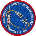 Explorers:Space Exploration, Apollo 9 Flown Embroidered Mission Insignia Patch Originally fromthe Personal Collection of Mission Commander Jim McDivitt, S...