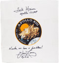 Autographs:Celebrities, Apollo 13 Beta Cloth Mission Insignia Signed by Mission CommanderJames Lovell and Lunar Module Pilot Fred Haise....