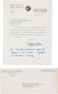 Autographs:Celebrities, Wernher von Braun Typed Letter Signed with Three-Line HolographPostscript. ... (Total: 3 Items)