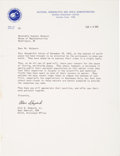 Autographs:Celebrities, Alan Shepard 1973-Dated Typed Letter Signed to a CongressmanRegarding Astronauts' Views on the Subject of World Peace....
