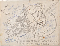 NASA Groups Four and Five Astronauts: Humorous Printed Cartoon Signed by Twenty-One