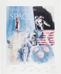 """Autographs:Celebrities, """"Naval Aviation in Space"""" Limited Edition Lithograph Originally Signed by Nine Astronauts, Now Signed by Twenty-Four Total...."""