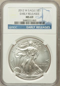 Modern Bullion Coins, 2012-W $1 Silver Eagle, Early Release MS69 NGC. NGC Census:(4858/8282). PCGS Population (2540/2642)....