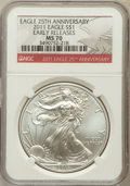 Modern Bullion Coins, 2011 $1 25th Anniversary Silver American Eagle, Early Releases MS70NGC. NGC Census: (52896). PCGS Population (38356)....