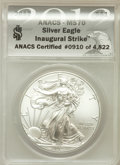 Modern Bullion Coins, 2012 $1 Silver Eagle, Inaugural Strike MS70 ANACS. NGC Census: (0).PCGS Population (8859)....