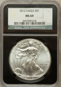 Modern Bullion Coins, 2012 $1 Silver Eagle MS69 NGC. 25th Anniversary Holder. NGC Census:(50956/4627). PCGS Population (1087/945). Numismedia W...