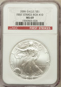 Modern Bullion Coins, 2006 $1 Silver Eagle First Strike MS69 NGC. Box #10. NGC Census:(116500/3850). PCGS Population (7323/502). Numismedia Wsl...