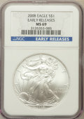 Modern Bullion Coins, 2008 $1 Silver Eagle Early Releases MS69 NGC. NGC Census:(42913/4152). PCGS Population (300480/10758)....