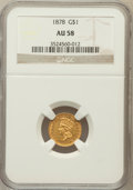 Gold Dollars: , 1878 G$1 AU58 NGC. NGC Census: (14/110). PCGS Population (22/116).Mintage: 3,020. Numismedia Wsl. Price for problem free N...