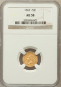 Gold Dollars: , 1862 G$1 AU58 NGC. NGC Census: (258/2504). PCGS Population(332/1735). Mintage: 1,361,390. Numismedia Wsl. Price for proble...