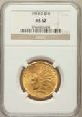 Indian Eagles: , 1914-D $10 MS62 NGC. NGC Census: (680/417). PCGS Population(710/587). Mintage: 343,500. Numismedia Wsl. Price for problem ...