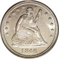 Seated Quarters: , 1846 25C MS64 PCGS. Perhaps it is the fame of half dimes and dimesof this date that lead collectors to believe this is a r...