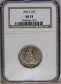 Seated Quarters: , 1856-S 25C AU53 NGC. A partly lustrous gunmetal-gray and tan-goldexample of this noteworthy conditional rarity. Seldom see...