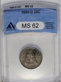 Seated Quarters: , 1859-O 25C MS62 ANACS. This example has subdued luster and violet and russet patina, the latter more prominent on the rever...