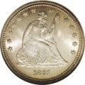 Seated Quarters: , 1861 25C MS66 NGC. Type Two Obverse and Reverse. These subtypes are identified by vertical shield lines above the E in LIBE...