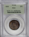 Seated Quarters: , 1869 25C MS61 PCGS. Rich orange-tan toning dominates, although therims are ocean-blue. This well struck and subdued exampl...