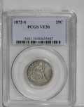 Seated Quarters: , 1872-S 25C VF30 PCGS. Moderate wear has left some of the coin'sdetails intact. The pleasing light gray surfaces are surpri...