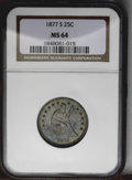 Seated Quarters: , 1877-S 25C MS64 NGC. This near-Gem possesses attractive lusterunder aquamarine and forest green toning. The strike is shar...