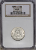 Seated Quarters: , 1878-CC 25C MS62 NGC. A satiny and virtually untoned example ofthis lustrous and well struck Carson City quarter. Light ma...
