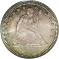Seated Quarters: , 1886 25C MS67 PCGS. Rich orange-red and aquamarine patina endowsthis lustrous high grade Seated quarter. The strike is for...