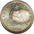 Seated Quarters: , 1889 25C MS66 ★ NGC. Both sides display iridescent bands ofocean-blue and golden-tan. The lo...