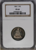 Proof Seated Quarters: , 1862 25C PR63 NGC. This coin's predominantly gunmetal fields arereflective with medium mirrors, while the sharply struck d...