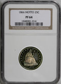 Proof Seated Quarters: , 1866 25C Motto PR64 NGC. An attractive specimen with delicate blue,red, and gold patina. Choice with deep mirrors and only...