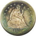Proof Seated Quarters: , 1870 25C PR66 NGC. Lavish sea-green, plum, and rose-gold shadesendow this nicely struck Premium Gem. A solitary toning fle...