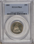 Proof Seated Quarters: , 1882 25C PR64 PCGS. Sharply struck with watery fields and mildlyfrosted devices. Lovely plum, antique-gold, and charcoal-g...