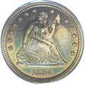 Proof Seated Quarters: , 1884 25C PR66 PCGS. Each side is bathed in sea-green with accentsof antique-golden and magenta shades at selected border a...