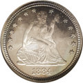 Proof Seated Quarters: , 1884 25C PR67 NGC. A glorious, moderately toned specimen that looksentirely original and carefully preserved. Each side sp...