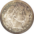 Barber Quarters: , 1900-S 25C MS67 NGC. A gorgeous coin that is enhanced by delicatesea-green and deep antique-gold toning throughout. Luster...