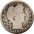 Barber Quarters: , 1901-S 25C Good 4 NGC. A clean, problem-free example of this rareissue. The recessed areas of the design have taken on dee...
