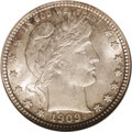 Barber Quarters: , 1909-S 25C MS67 NGC. The 1909-S is a scarcer issue among late-dateBarber quarters and is one that is seldom located in Sup...