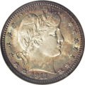 Barber Quarters: , 1911-S 25C MS67 NGC. Shimmering, frosted surfaces of peerlessquality are layered in golden-rose and steel-blue toning that...