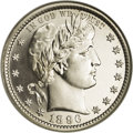 Proof Barber Quarters: , 1896 25C PR65 Cameo NGC. A scant 762 proofs were minted in 1896, few of which can match the quality or pleasing cameo contr...